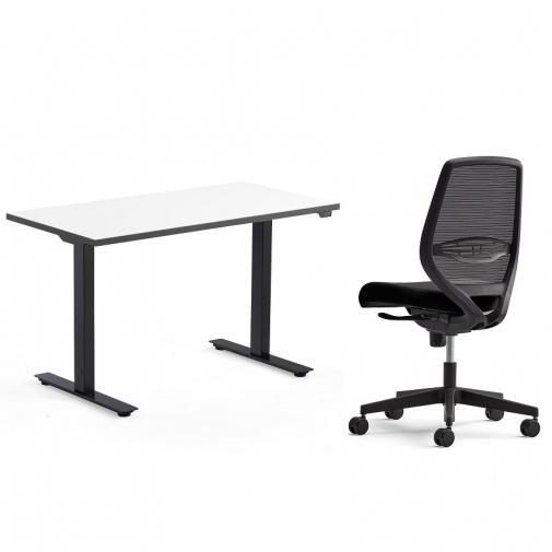 Komplektas NEOS reguliuojamo aukščio stalas ir biuro kėdė