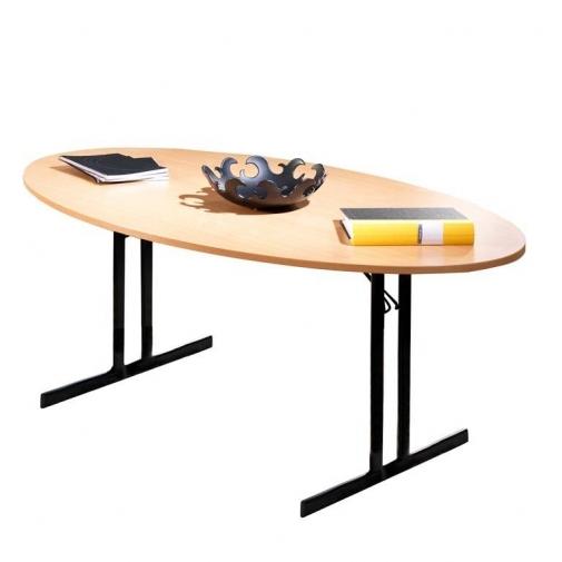 Elipsės formos sudedamas stalas, bukas/juoda, H720 x W1000 x L1800 mm