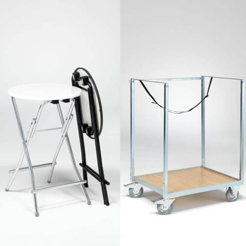 Komplektas: 8 stalai + vežimėlis, juodas/galvanizuota, H1050xØ850 mm