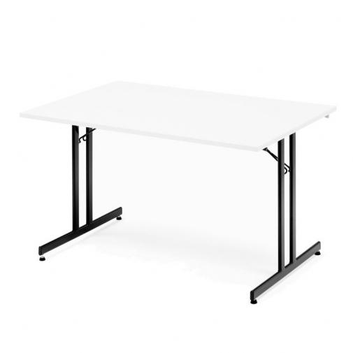 Sulankstomas stalas, balta/juoda, H720 x W800 x L1200 mm