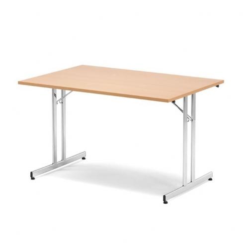 Sulankstomas stalas, buko/aliuminio pilka, H720 x W800 x L1800 mm