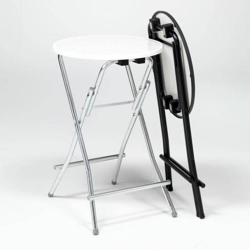 Sudedamas baro stalas, balta/juoda, 1050 x 850 mm
