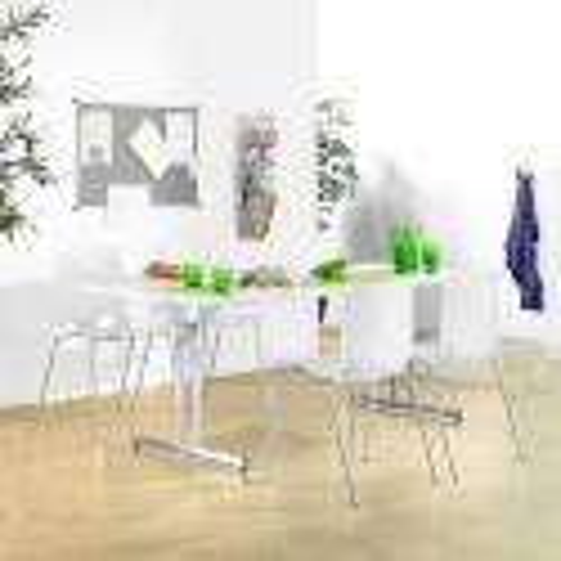 Sulankstomas valgyklos komplektas, baltos kėdės, L1400 mm