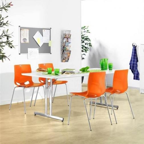 Sulankstomas valgyklos komplektas, oranžinės kėdės, L2000 mm