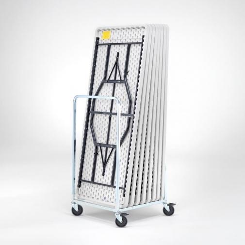 8 sulankstomi stalai + vežimėlis, 1830x760mm, juoda/balta