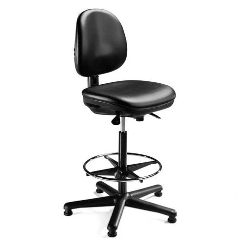 """Pramoninė kėdė """"Teknik"""", su plokščiomis kojelėmis, su lanku kojoms, juodas vinilas"""