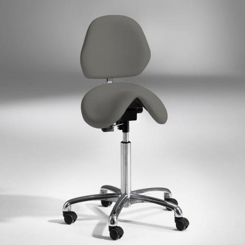 Kėdė-balnas su atlošu, pilka