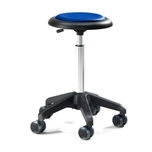 Kėdė ant ratukų, be atlošo, 440-570 mm, mėlynas vinilas