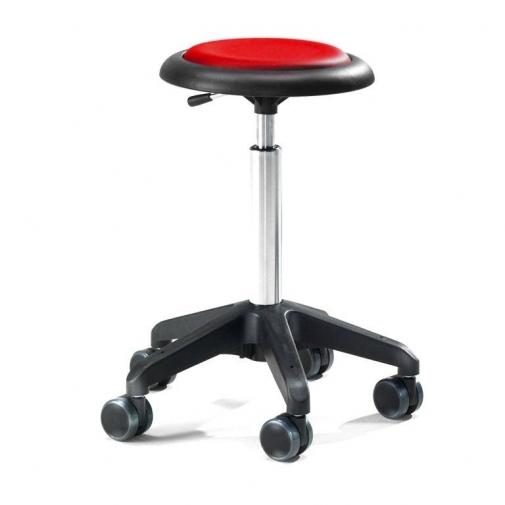 Kėdė ant ratukų, be atlošo, 440-570 mm, raudonas vinilas
