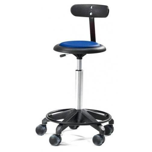 Kėdė ant ratukų, su atlošu, 440-570 mm, mėlynas vinilas