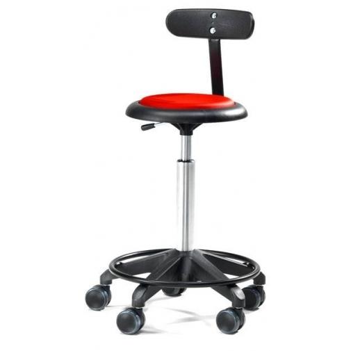 Kėdė ant ratukų, su atlošu, 440-570 mm, raudonas vinilas