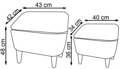 pufų matmenys