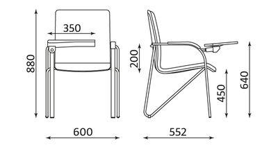 kėdė su atliankiamu staliuku