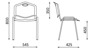 Lankytojų kėdė ISO JUODAS, plastikas