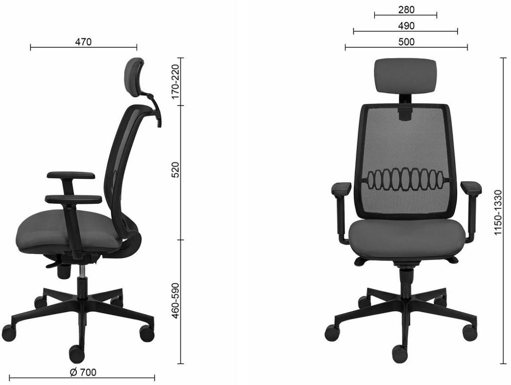 ergonomiškos biuro kėdės matmenys