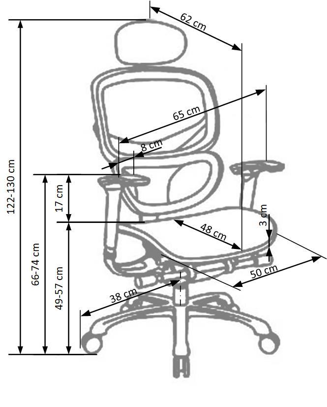 ergonominės kėdės matmenys