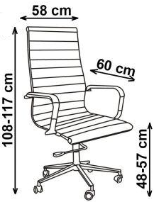 Biuro kėdės matmenys