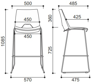 baro kėdės matmenys