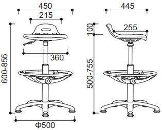 kėdės worker matmenys