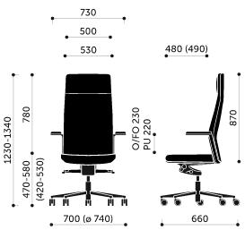 kėdės MyTurn matmenys
